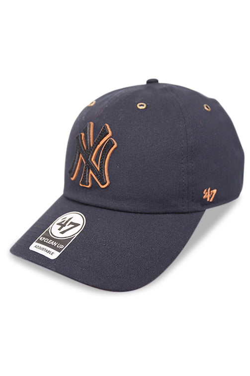 47 Brand NY Townhouse Canvas Clean Up Black Strapback Angle