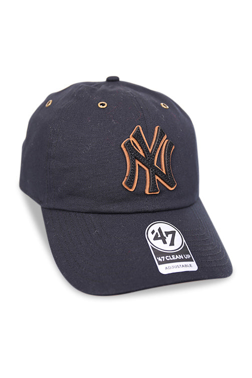 47 Brand NY Townhouse Canvas Clean Up Black Strapback Detail