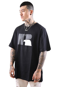 Russell Athletic Eagle R Crew Tee Black/Stone Grey Angle