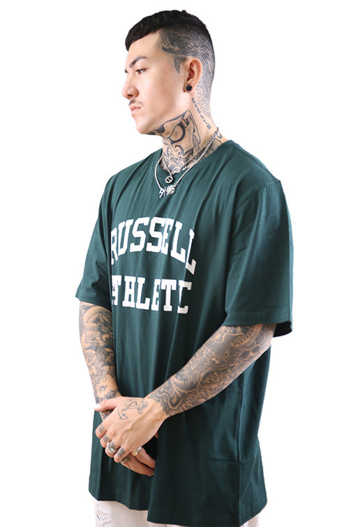 Russell Athletic Arch Logo Crew Tee Deep Pine Angle