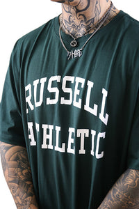 Russell Athletic Arch Logo Crew Tee Deep Pine Detail