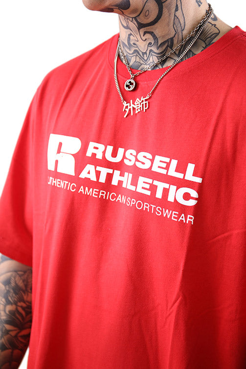 Russell Athletic Bar Logo Crew Tee Flame Detail