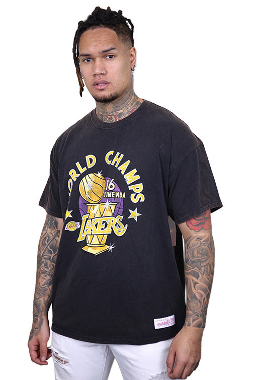 M&N Lakers World Champs S/S Tee Black