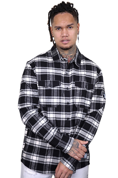 Majestic Raiders Flannel Shirt Black