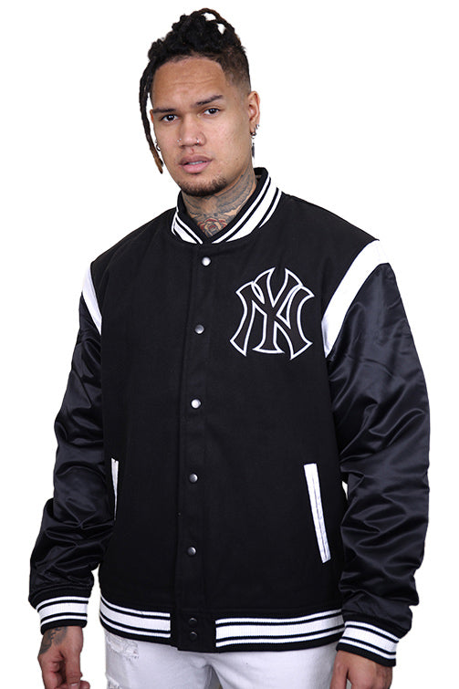 Majestic NY College Jacket Black Front