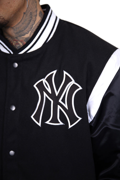 Majestic NY College Jacket Black Detail 1
