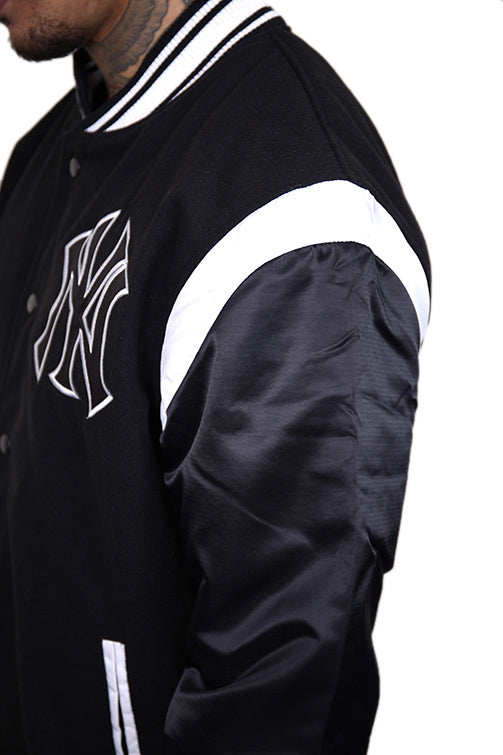 Majestic NY College Jacket Black Detail 3