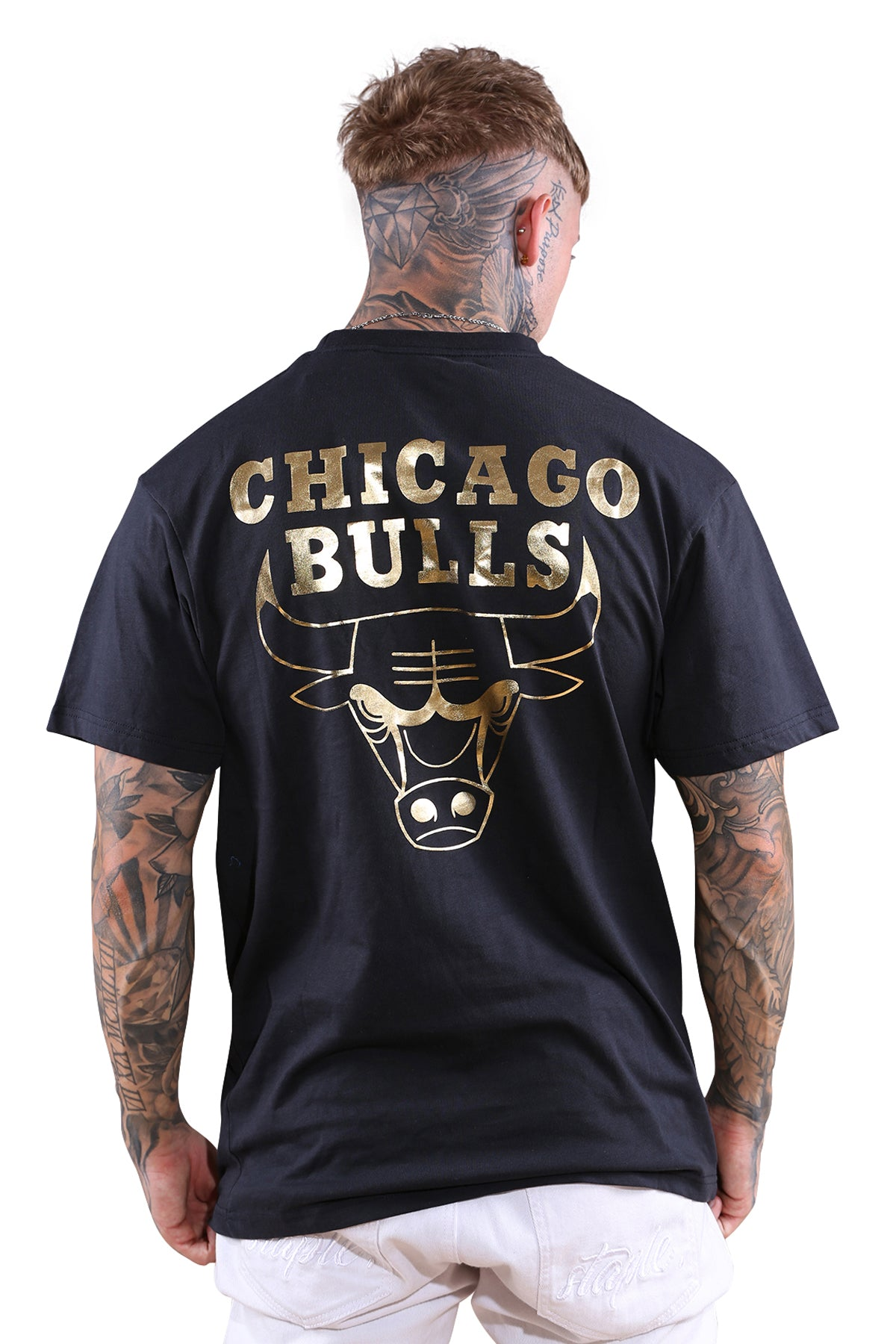 M&N Bulls Team Foil Logo Tee Faded Black
