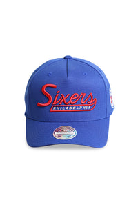 M&N 76ers Script N Tail Pinch 110 Royal Snapback Front