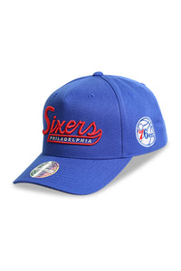 M&N 76ers Script N Tail Pinch 110 Royal Snapback Angle