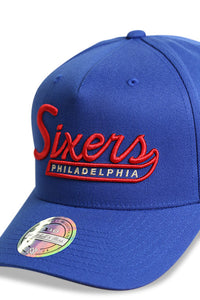 M&N 76ers Script N Tail Pinch 110 Royal Snapback Detail 1