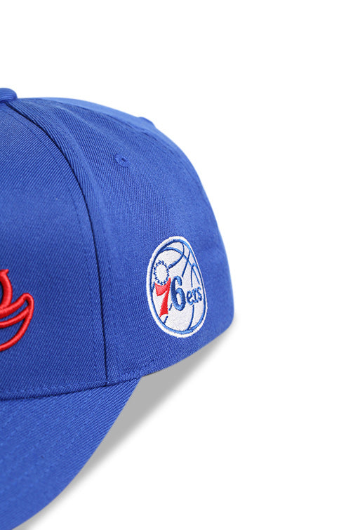 M&N 76ers Script N Tail Pinch 110 Royal Snapback Detail 2