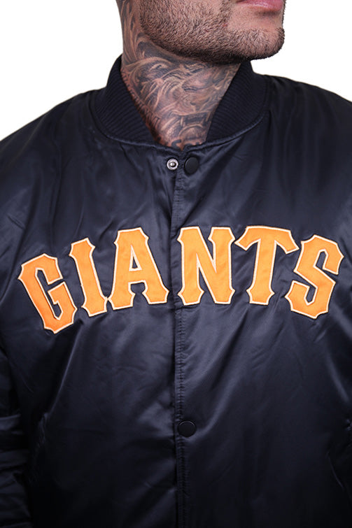 Majestic SF Giants Team Bomber Jacket Black Detail 1