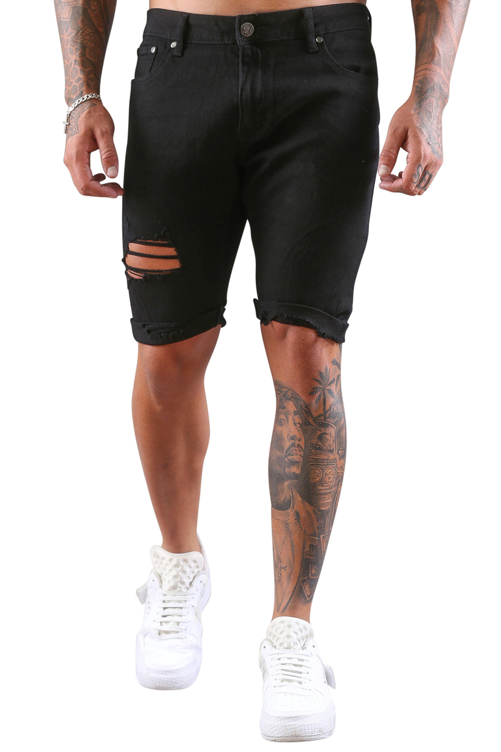AFKNCHUR Empress Distressed Shorts Black