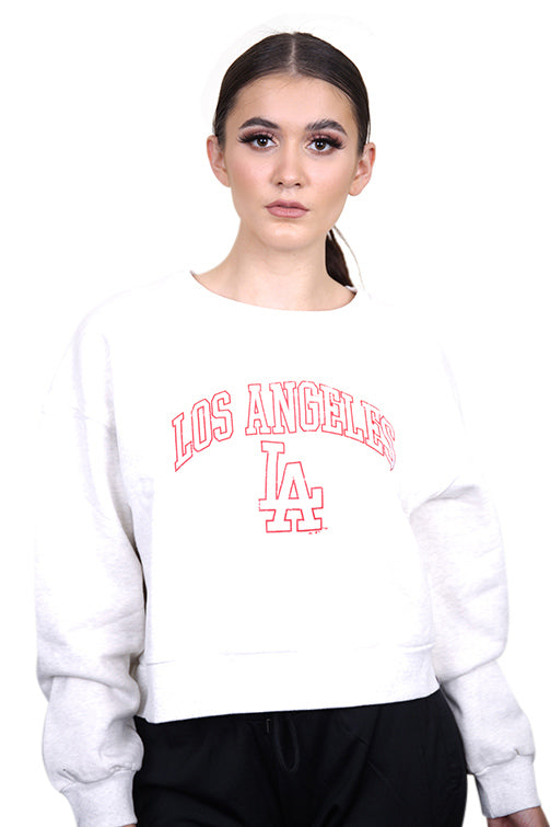 Majestic LA Cropped Crew Sweat White Marle Front