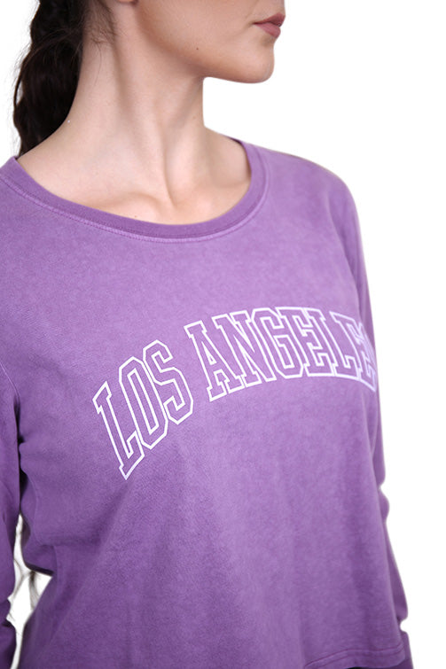 Majestic Womens LA Archy L/S Tee Purple Dusk Detail