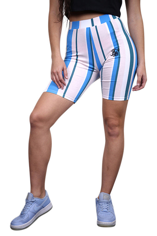 SikSilk 90s Stripe Cycle Shorts Rotary Stripe Front