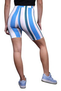 SikSilk 90s Stripe Cycle Shorts Rotary Stripe Back