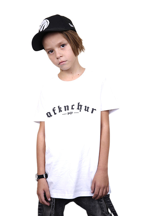 AFKNCHUR Kids Bless Tee White Black Front