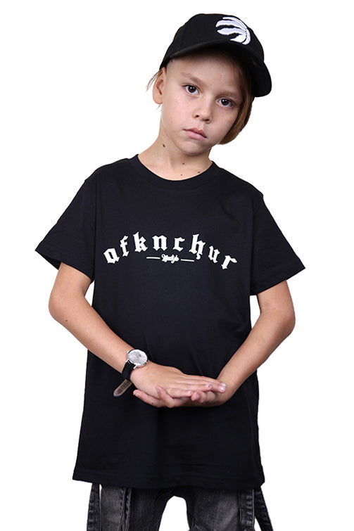 AFKNCHUR Kids Bless Tee Black White Front