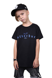 AFKNCHUR Kids Lifestyle Tee Black Blue Front