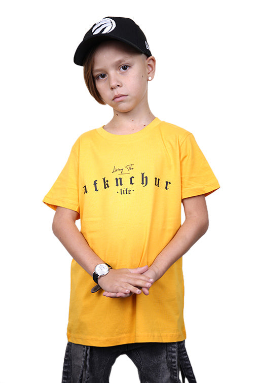 AFKNCHUR Kids Lifestyle Tee Yellow Black Front