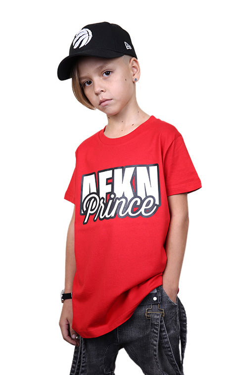 AFKNCHUR Kids Prince Tee Red Front