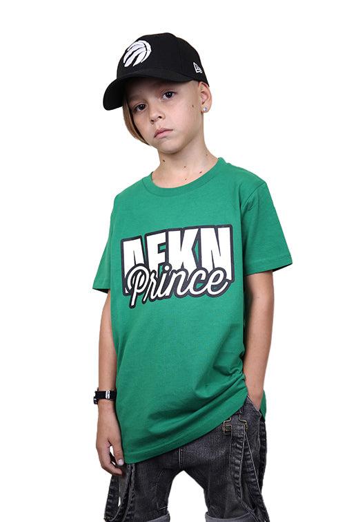 AFKNCHUR Kids Prince Tee Green Front