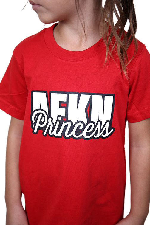 AFKNCHUR Kids Princess Tee Red Detail