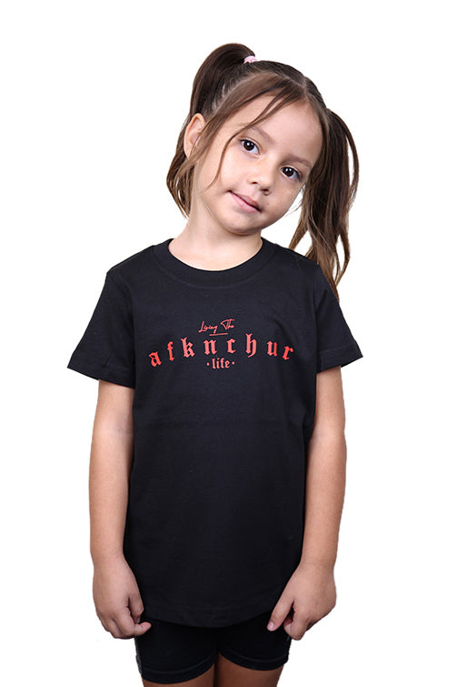 AFKNCHUR Kids Lifestyle Tee Black Red Front