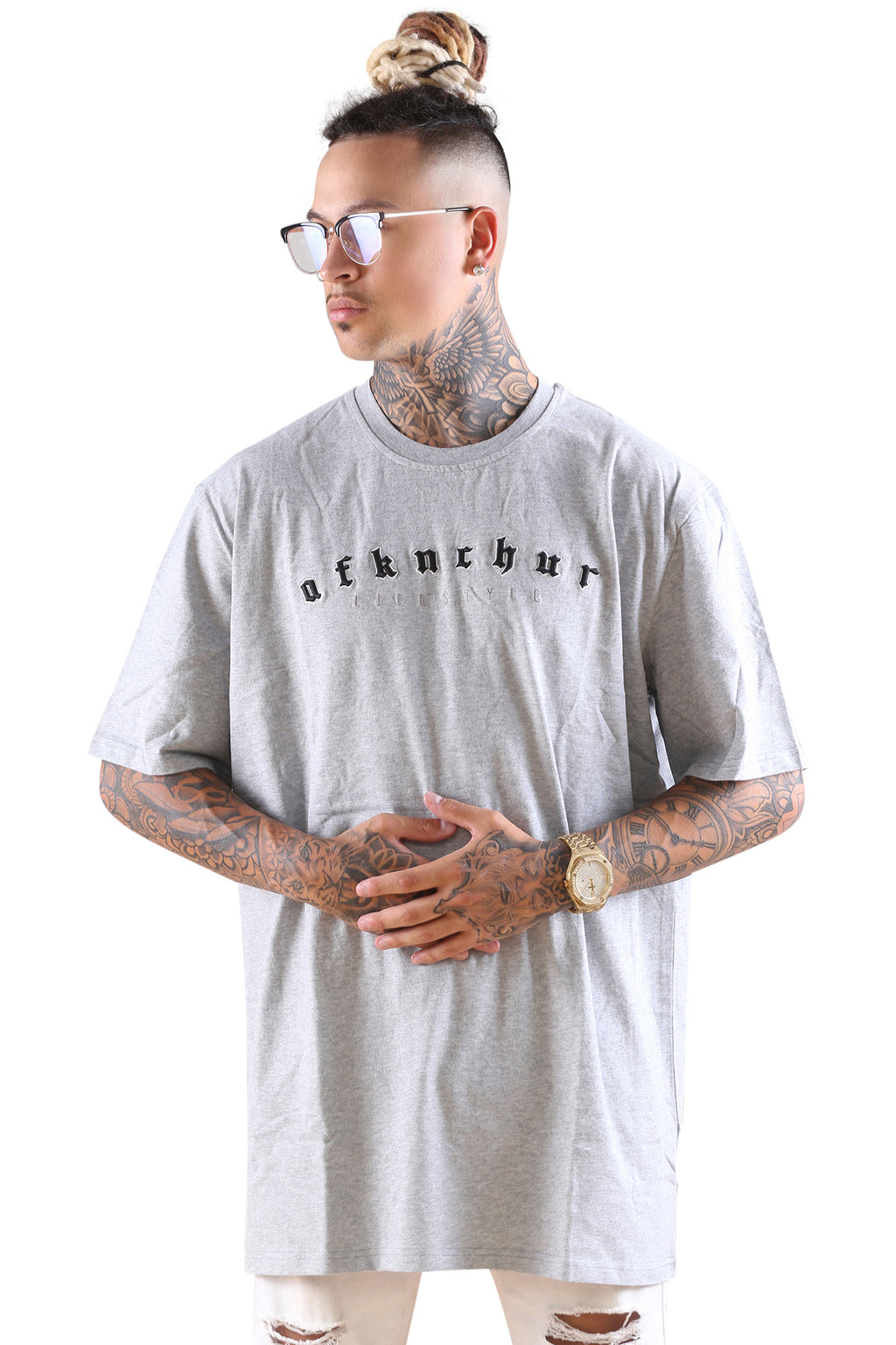 AFKNCHUR Embedded Tee Heather Grey