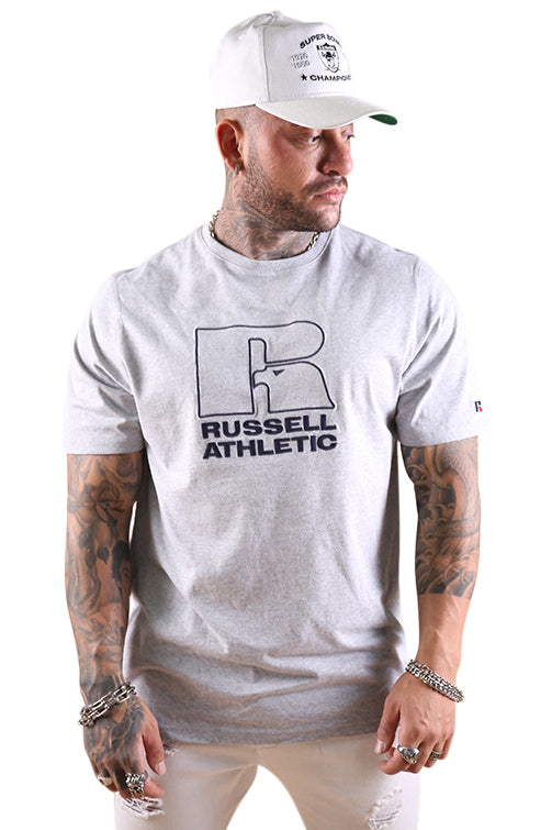 Russell Athletic DJ Mens Pro Cotton Emb Tee Grey Marle
