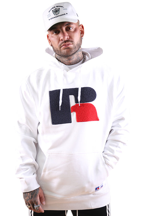 Russell Athletic DJ Mens Boucle Hoodie White
