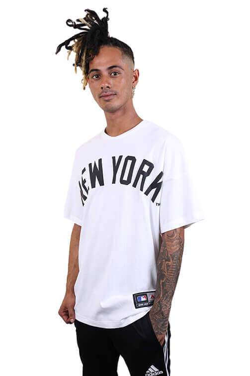 Majestic NY Ranstead Oversized Tee White Front