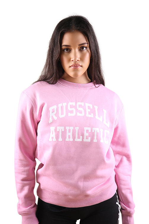 Russell Athletic Womens Arch Logo Crew Pink/White