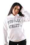 Russell Athletic Womens Arch Logo Hoodie White