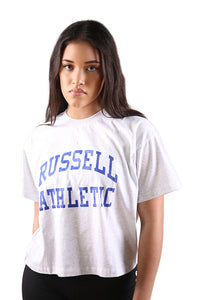 Russell Athletic Womens Arch Logo Crop Tee Snow Marle