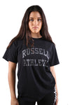 Russell Athletic Womens Arch Logo Boyfriend Tee Black