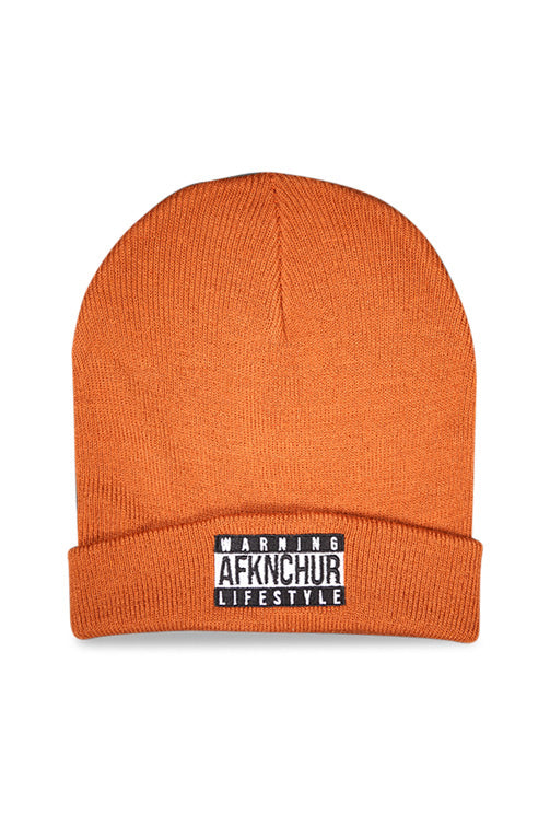 AFKNCHUR Warning Cuff Folded Beanie Copper Front
