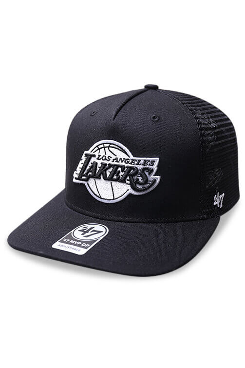 47 Brand LA Lakers Level Mesh MVP DV Black Snapback Angle