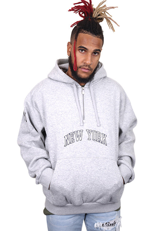 New Era 1/4 Zip Wordmark Hoodie Grey