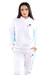 Champion Womens Panel Hoodie White/Blue Fin