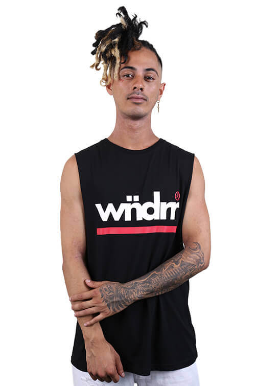 WNDRR Revive Muscle Top Black Front