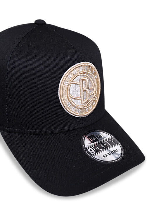 New Era 940 A Frame Brooklyn Nets Black Snapback Detail