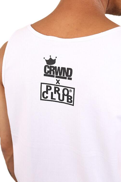 CRWND x Pro Club Marley Love Singlet White Detail 2