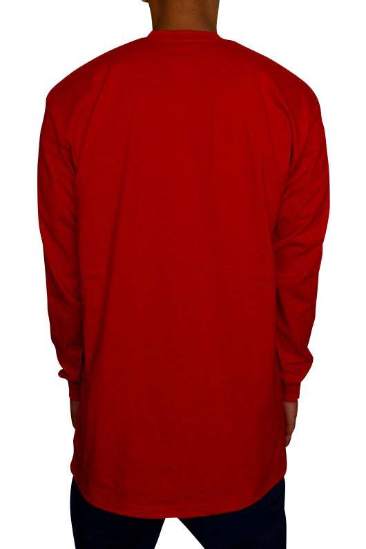 Pro Club Heavyweight Long Sleeve Tall Tee Red Back