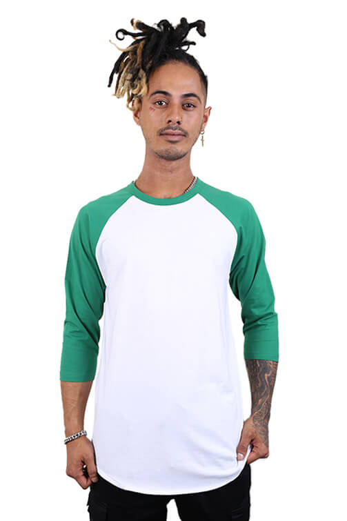 As Colour Raglan Tee White/Kelly Green