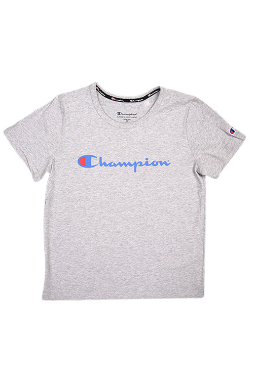 Champion Youth Script Tee Oxford Heather Front