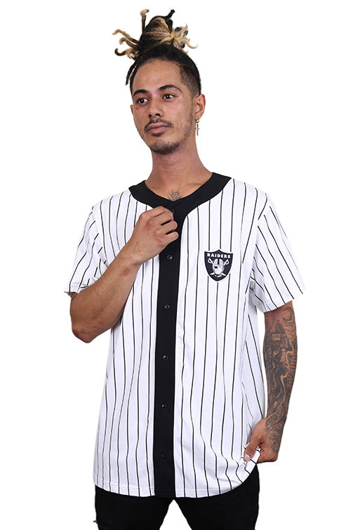 New Era Raiders Stripe Baseball Tee White/Black