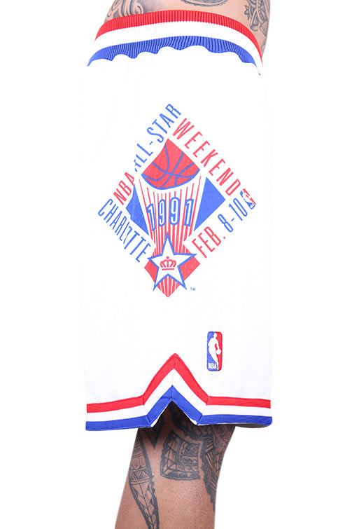 M&N All Star East Swingman Short White Close Up Side 2